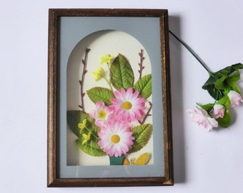 Vintage Artificial Flower Shadow Box, Timber Frame, 1950s, Mid Century Kitsch Decor, Wall Decor, Retro Picture, Fake Flower Art, Rustic