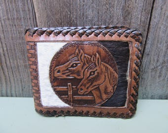 1970s Mens Tooled Leather Wallet Bifold Mexico Hair On Horse Horseshoe Whipstitch Wallet Cowboy Western Southwestern Vintage 70s