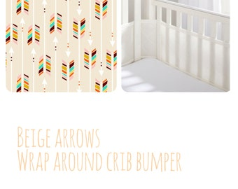 Breathable bumper soft stretchy jersey Beige multicolor arrows fabric wrap around crib bumper