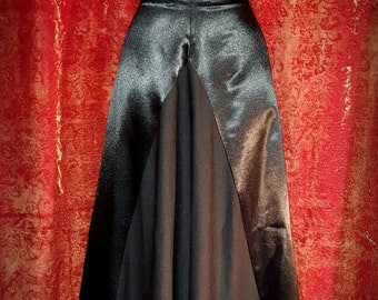Lush 80s vintage goth gothic satin and poly a-line floor length skirt old school batcave WGT