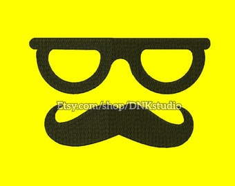 Moustache Mustache Glasses Embroidery Design - 6 Sizes - INSTANT DOWNLOAD