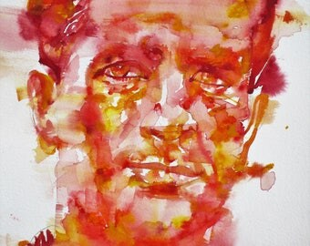 JACK KEROUAC - original watercolor portrait - one of a kind!