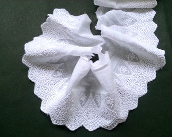 """5 Yards of White Cotton Embroidered Lace Fabric/ Cotton Embroidered Lace Trim (4"""" Width)"""