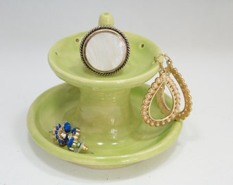Ring dish-jewelry Fountain-Earring holder-Ring Rest-Jewelry Dish-Ceramic Ring Dish-Pottery Ring Dish-Green Ring Rest