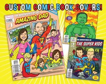 Custom SUPERHERO Comic Book Cover CARICATURE of Family - Personalized Fantasy Illustration