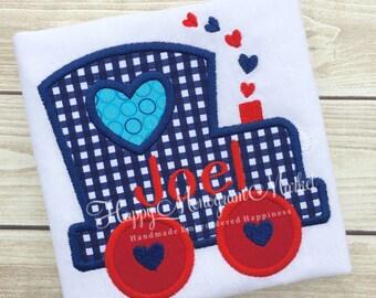 Valentines Day Heart Train Applique Shirt Tshirt Bodysuit First Valentine Navy Red White Choo Choo Train Baby Toddler Boy Shirt Monogrammed