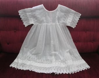 Vintage Child's White Cotton Broderie Anglaise/Eyelet Dress Circa 1920's  #17099