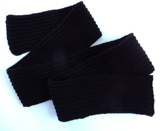 Black Knitted Scarf, Mans Scarf, Womans Scarf, 74 inches, Hand Knit