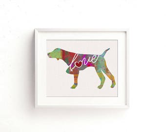 German Shorthaired Pointer (Pointing) GSP Love - A Colorful Watercolor Print - Gift for Dog Lovers - Pet Artwork - That Can be Personalized