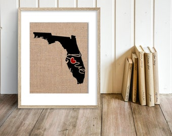"FLorida (FL) ""Love"" or ""Home"" Burlap or Canvas Paper State Silhouette Wall Art Print / Home Decor (Free Shipping)"