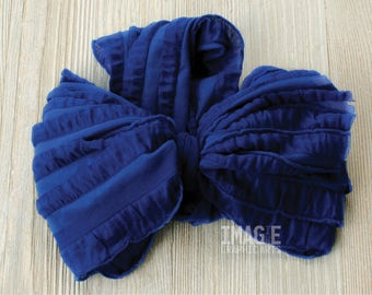 Messy Ruffle Bow Headband - Royal Blue