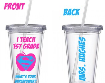 Personalized Teacher superpower tumbler with straw Teacher Gift, Personalized Cup,  Teacher Appreciation, Tumbler, Teacher Cup, Teacher Mug