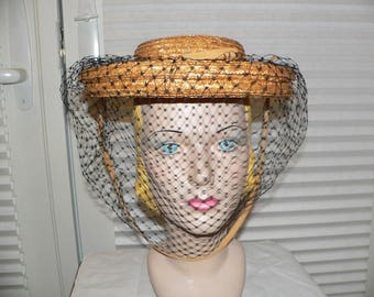 1940s R H Stearns Straw Hat with Face Netting, Size 22 1/2