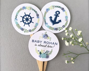 Cupcake toppers, boy baby shower, custom cupcake picks, nautical baby shower, baby shower decoration - 10ct(ct8)
