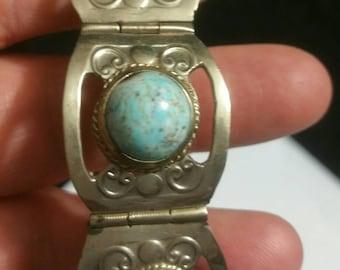 Vintage Mexico blue panel bracelet