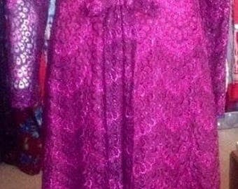1960s Bright Pink Shimmer Maxi Brocade Party Dress with Sheer Sleeves and Large Bow!