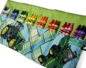 Tractor Gift, Crayon Case, Plaid, Green Tractor, Stocking Stuffer