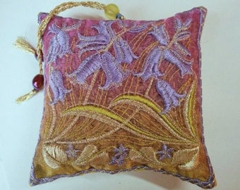BLUEBELLS, Embroidered  Lavender Bag, Spring gift, Blue, Flowers, Birthday, Hosts gift, Scented pouch, Mothers Day