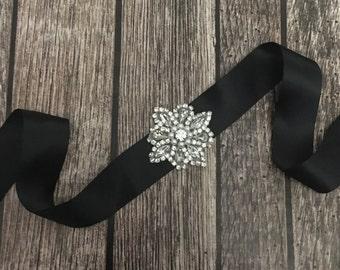 Black sash, Flower girl sash, childrens sash, wedding sash, rhinestone sash, dress sash