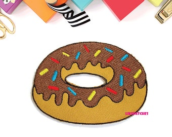 Chocolate Topping Doughnut - Donut - Food New Sew / Iron On Patch Embroidered Applique Size 7.8cm.x5.6cm.