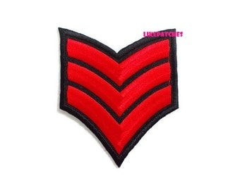 Red Rank Iron On Patch Badge Patches Emblem Sew / Iron On Patch Embroidered Patch Iron On Appliques Cute Patches Size 6.9cm.x8.2cm.
