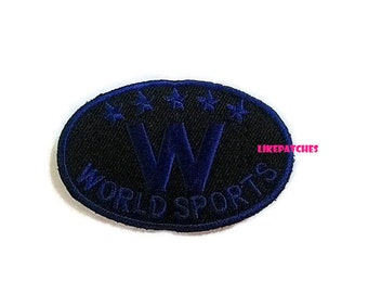 Banner Iron On Patch Cute Patches World Sports Dark Blue On Black Patch Iron On Patches Embroidered Patch Iron On Appliques 7.9cm.x5.2cm.