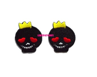 Set 2pcs. Black Skull Patch - Black Funny Skull Mini Patch - Cute Patches New Sew / Iron On Patch Embroidered Applique Size 2.5cm.x2.9cm.
