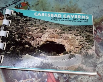 Vintage 50's Spiral Postcard book Carlsbad Caverns National Park New Mexico