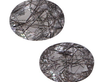 Black Rutilated Quartz Oval Cut Loose Gemstones Set of 2 1A Quality 8x6mm TGW 1.70 cts.