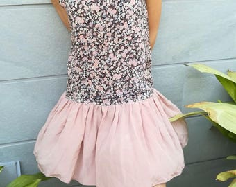 Handmade silk dress with floral and pink
