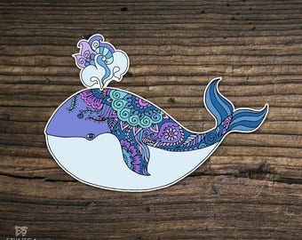 Vinyl whale sticker, ocean life, zentangle doodle sticker, laptop sticker, art sticker, whale art, Ipad sticker, car sticker