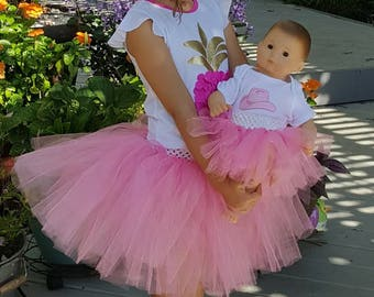 Matching doll and child tutus Made to order and Made to fit American Girl 18 inch and Bitty Baby doll YOU CHOOSE COLOR