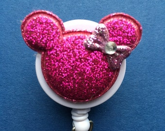 Disney© Minnie Mouse™ Various Colored Shiny Sequin ~ ID Holder Customized ~ Retractable Badge Reel ~ Belt Clip ~ Alligator Clip~ Nurses MD