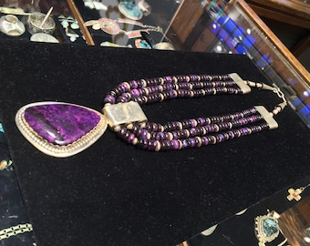 Wayne Aguilar Santo Domingo Sugilite multi strand necklace beaded hand made formed sterling silver beads purple Native American Indian