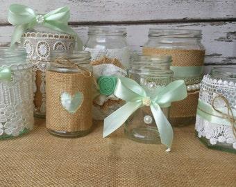 Winter wedding decorations, candle holder, wedding centrepiece, mason jar, rustic wedding decor, country wedding, boho wedding, mint wedding