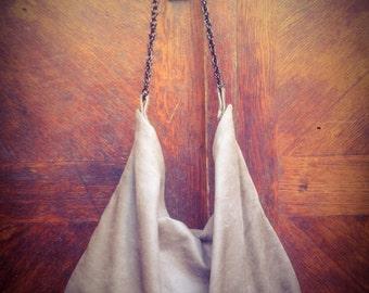 ON SALE Hobo beige faux suede bag/handbag bag/ faux suede shoulder bag/ streetfashion chic bag