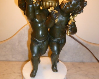 French antique Art Nouveau period spelter alabaster lamp with cherubs putti & tapestry shade circa 1910