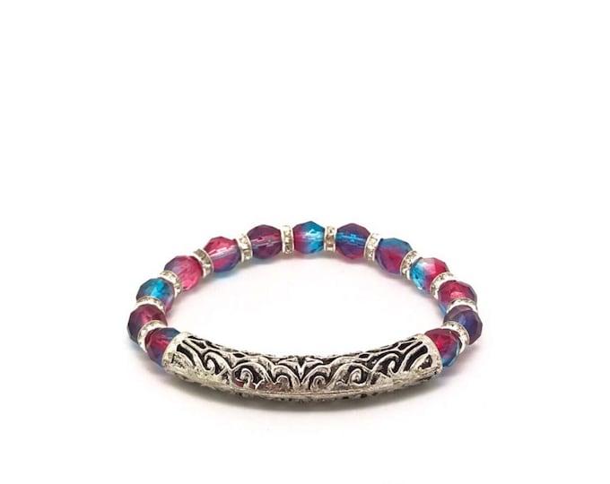 Blue red bracelet, silver tube bracelet,red blue bracelet, blue strech bracelet, red strech bracelet