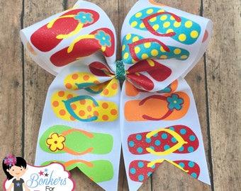 beach cheer bow, summer cheer bow, flip flop cheer bow