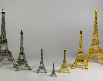 "15"" Metal Eiffel Tower Decore Silver/Gold"
