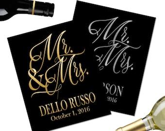 Wedding Wine Bottle Label- Wedding Gift Wine Bottle - Mr. and Mrs. Wine Label