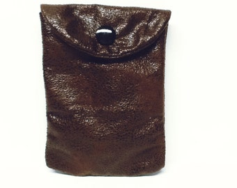 Insulin pump holder / clip on / brown pleather