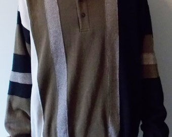 vintage 90s collared sweater brown white and black men's large