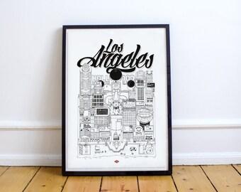 Illustration Los Angeles - Série *Travel With Me* | Noir et Blanc | 32x45 cm