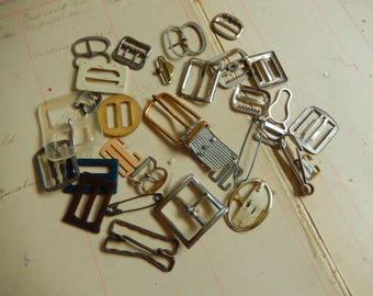 29 Piece Vintage Buckle Scarf Slide Fastener Lot Plastic Antique Junk Jewelry Destash
