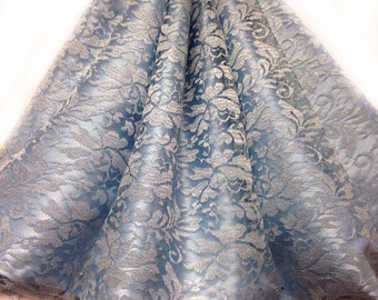 Light Blue Lace fabric by the yard, Blue Silver lace, Shimmering Lace Dress Fabric for bridesmaids Wedding lace Fabric
