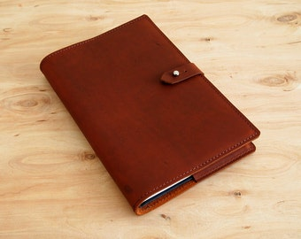"Refillable Leather Journal, Tan Oil Tan Leather, 8-1/2"" X 5-1/2"", Ready to Ship"