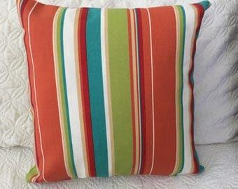 DECORATIVE OUTDOOR PILLOW-Multicolored Striped w/zipper enclosure (J)