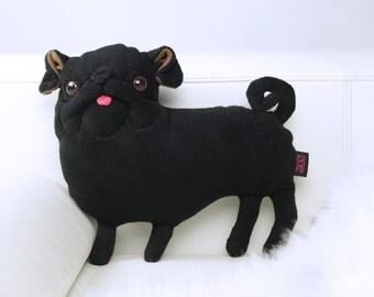 cute black pug pillow , Plush Pug art Doll , Pug Gift, Dog Lover Gift,  Pug Plush, Plush black pug pillow, Stuffed Animals & Plushies,