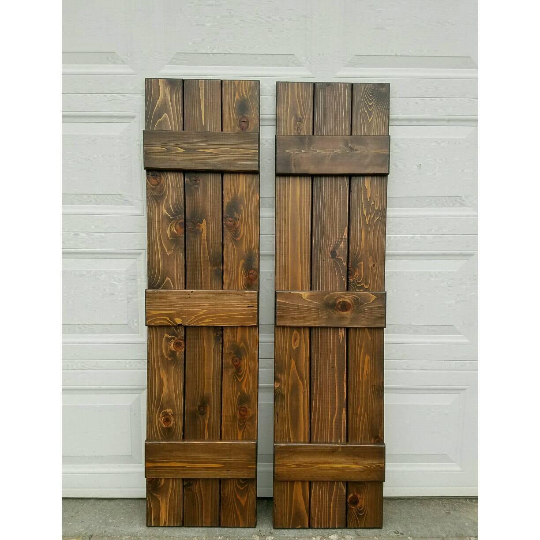 Wood ShuttersBoard And Batten Cedar Shutters Exterior Stained - Stained exterior shutters